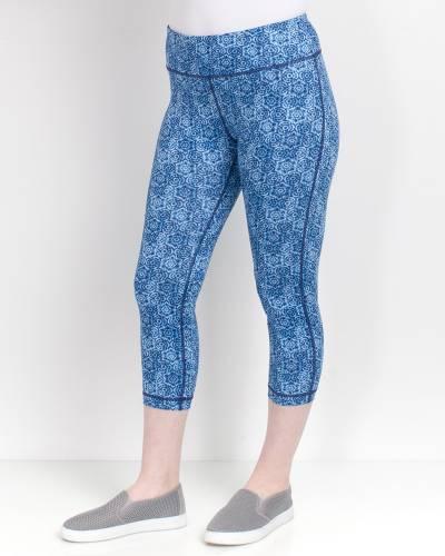 Blue Floral Print Capri Leggings