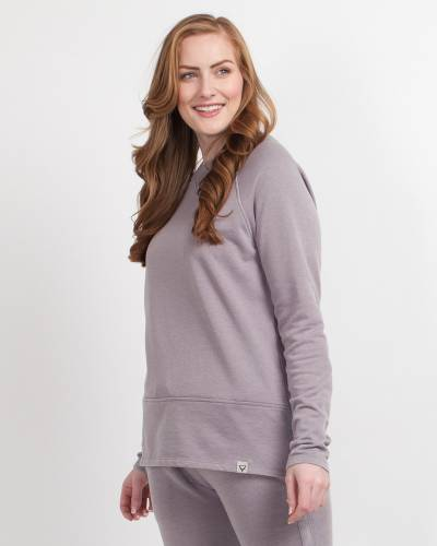 Long Sleeve Crew Neck Pullover in Purple