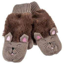 The Paper Store Cat Mittens in Brown