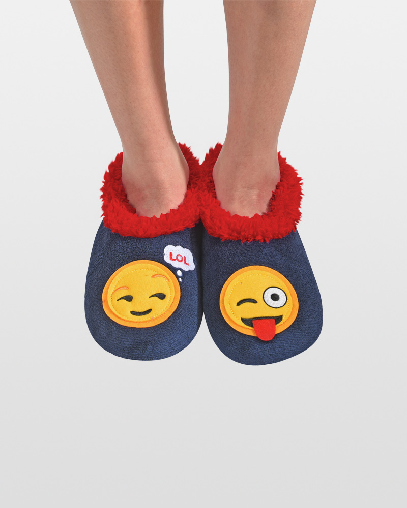 Snoozies LOL/Tongue Emoji Snoozies Slippers