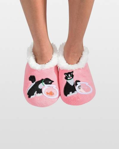 Cat and Fish Bowl Snoozies Slippers