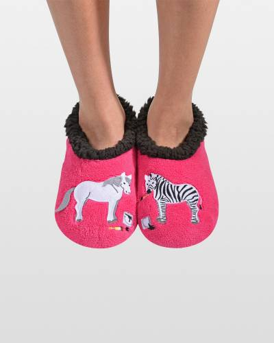 White and Striped Zebra Snoozies Slippers