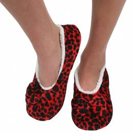 Snoozies Women's Touch Me Snoozies in Red Leopard