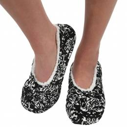Snoozies Women's Touch Me Snoozies in Black and White Floral