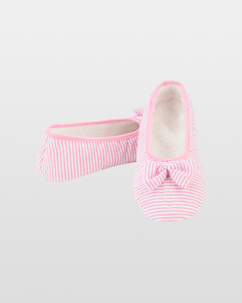 Snoozies Pink Seersucker Ballet Snoozies Slippers