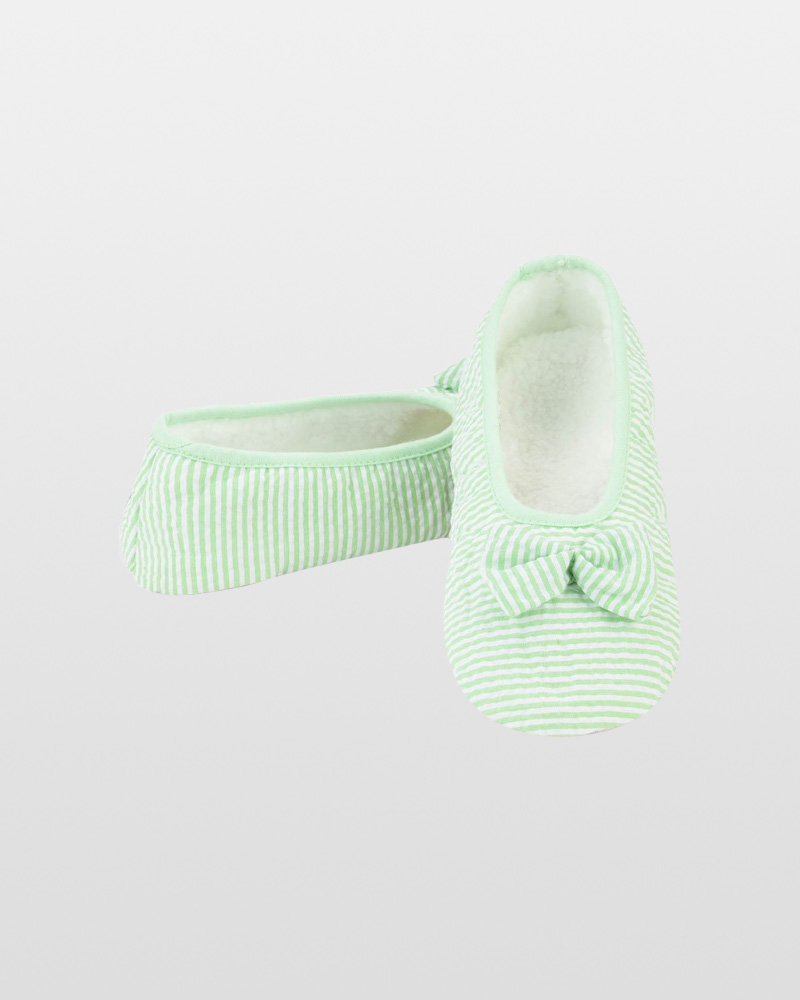 Snoozies Green Seersucker Ballet Snoozies Slippers