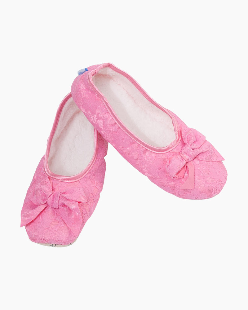 Snoozies Women's Laced Up Ballet Snoozies in Pink