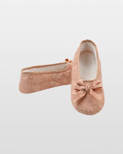 Women's Laced Up Ballet Snoozies in Beige