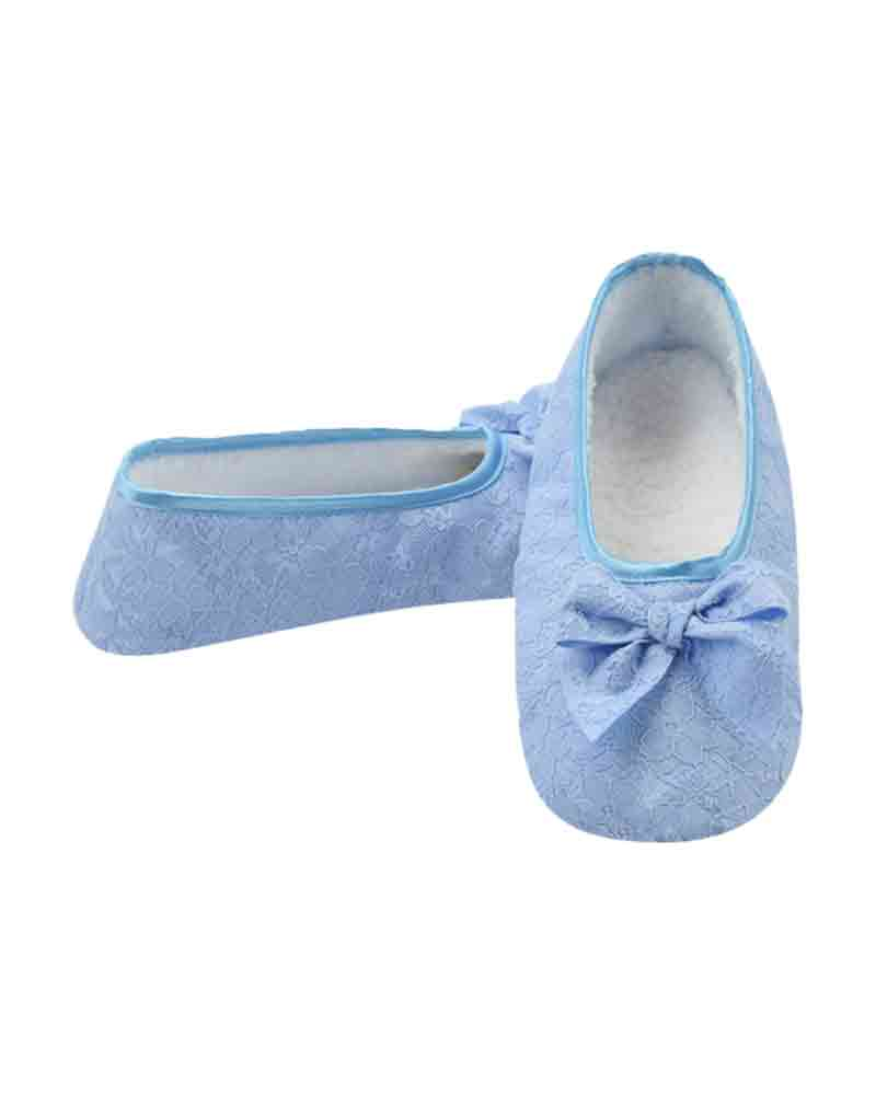 Snoozies Women's Laced Up Ballet Snoozies in Blue