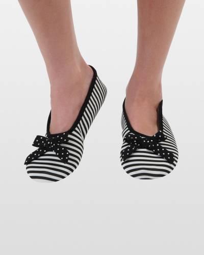 Black Striped Ballet Skinnies Foot Coverings