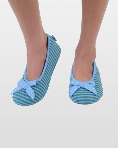Blue Striped Ballet Skinnies Foot Coverings