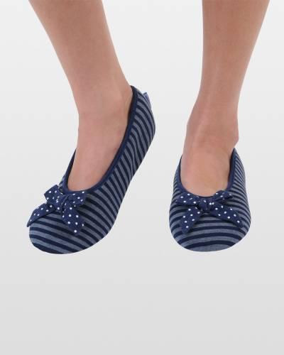 Navy Striped Ballet Skinnies Foot Coverings
