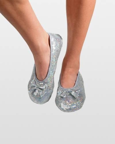 Silver Sequin Bling Ballet Women's Skinnies Foot Coverings