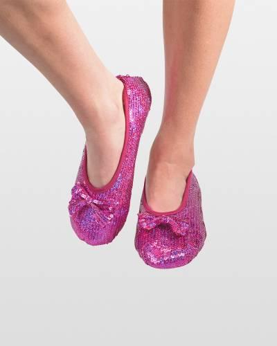 Pink Sequin Bling Ballet Women's Skinnies Foot Coverings