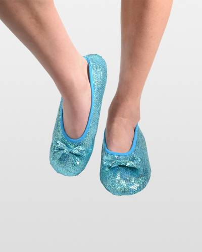 Blue Sequin Bling Ballet Women's Skinnies Foot Coverings