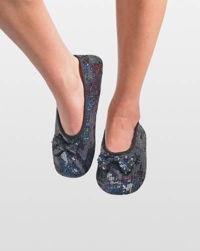 Black Sequin Bling Ballet Women's Skinnies Foot Coverings