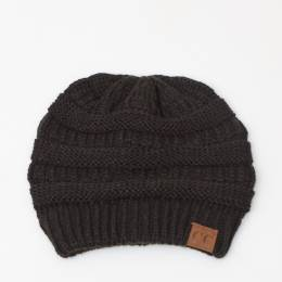 C.C. Chunky Cable Knit Beanie in Black