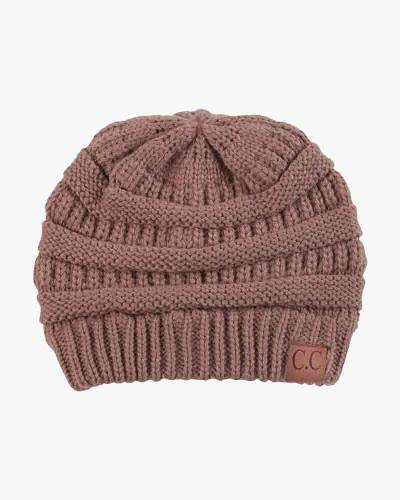 Chunky Cable Knit Beanie in Taupe