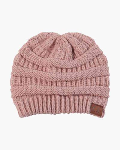 Chunky Cable Knit Beanie in Rose