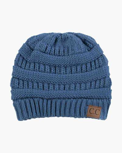 Chunky Cable Knit Beanie in Denim