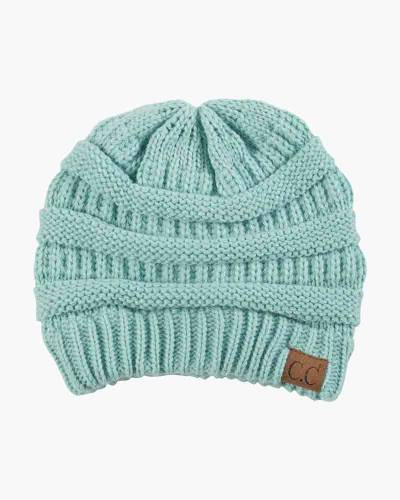 Chunky Cable Knit Beanie in Mint