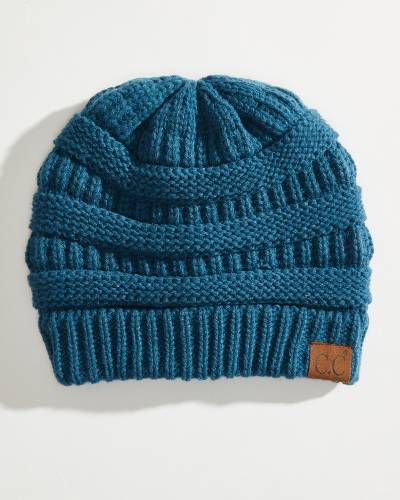 Chunky Cable Knit Beanie in Teal