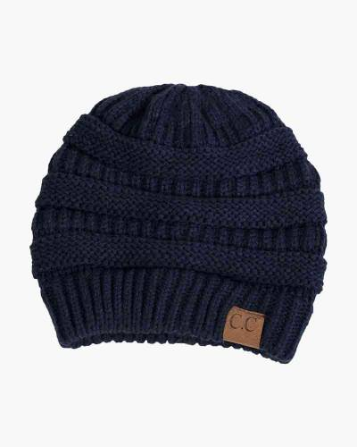 Chunky Cable Knit Beanie in Navy