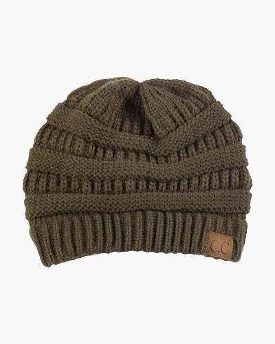 Chunky Cable Knit Beanie in Olive