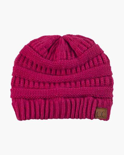 Chunky Cable Knit Beanie in Hot Pink