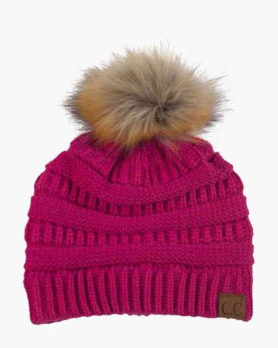 Faux Fur Pom-Pom Beanie in Hot Pink