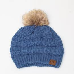 C.C Faux Fur Pom-Pom Beanie in Denim
