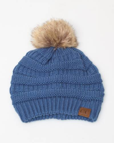 Faux Fur Pom-Pom Beanie in Denim