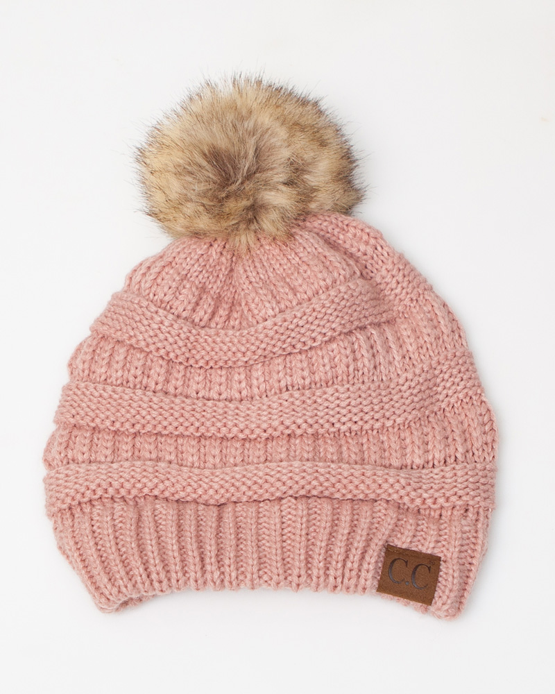 C.C. Faux Fur Pom-Pom Beanie in Rose  60e0e9e90