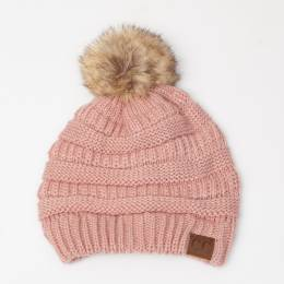 C.C. Faux Fur Pom-Pom Beanie in Rose