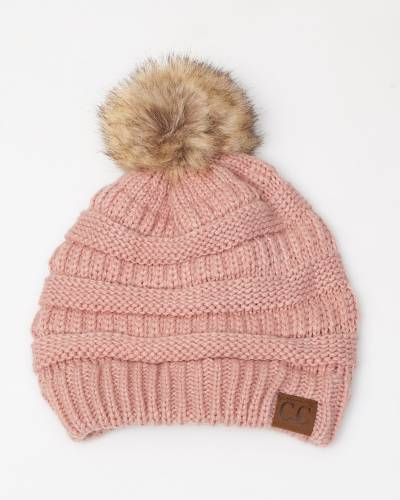 Faux Fur Pom-Pom Beanie in Rose