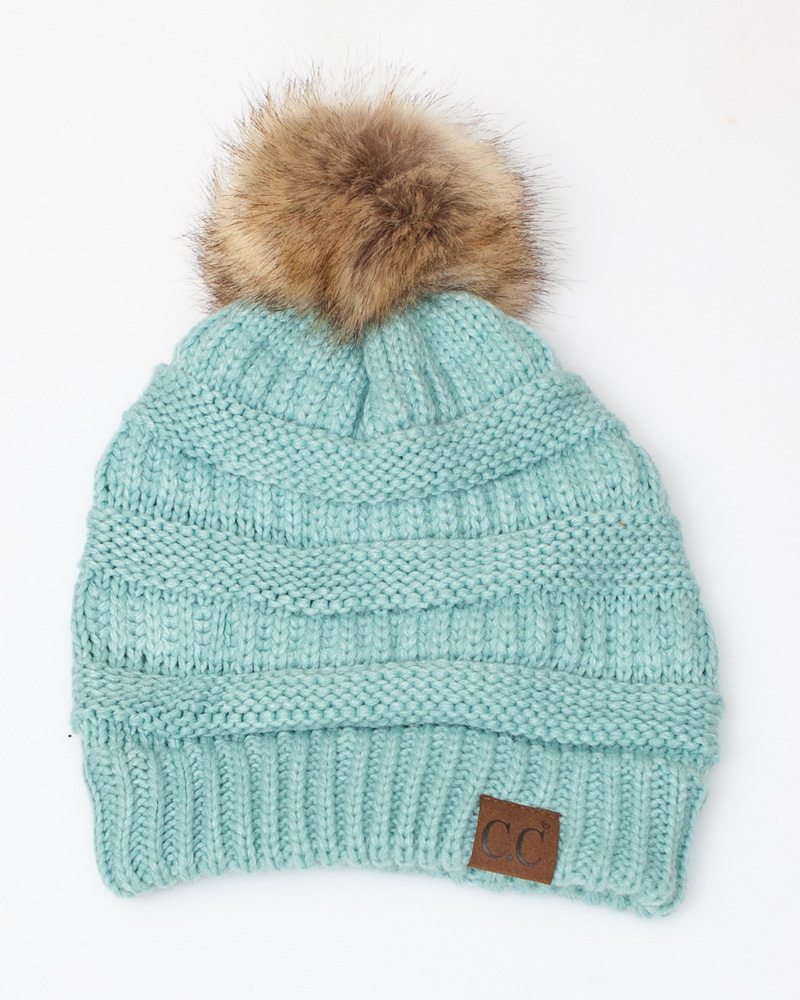 2bfc5dce45ca99 C.C. Faux Fur Pom-Pom Beanie in Mint | The Paper Store