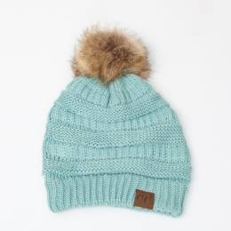 C.C. Faux Fur Pom-Pom Beanie in Mint