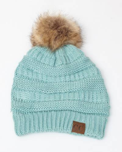 Faux Fur Pom-Pom Beanie in Mint