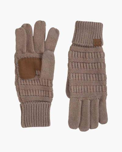 Knit Tech Gloves in Taupe
