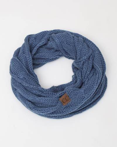 Knit Infinity Scarf in Denim Blue