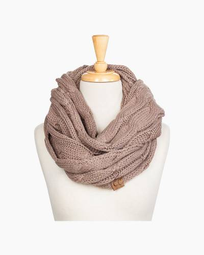 Knit Infinity Scarf in Taupe