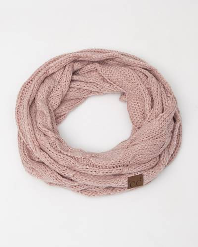 Knit Infinity Scarf in Rose