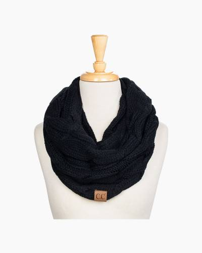 Knit Infinity Scarf in Black