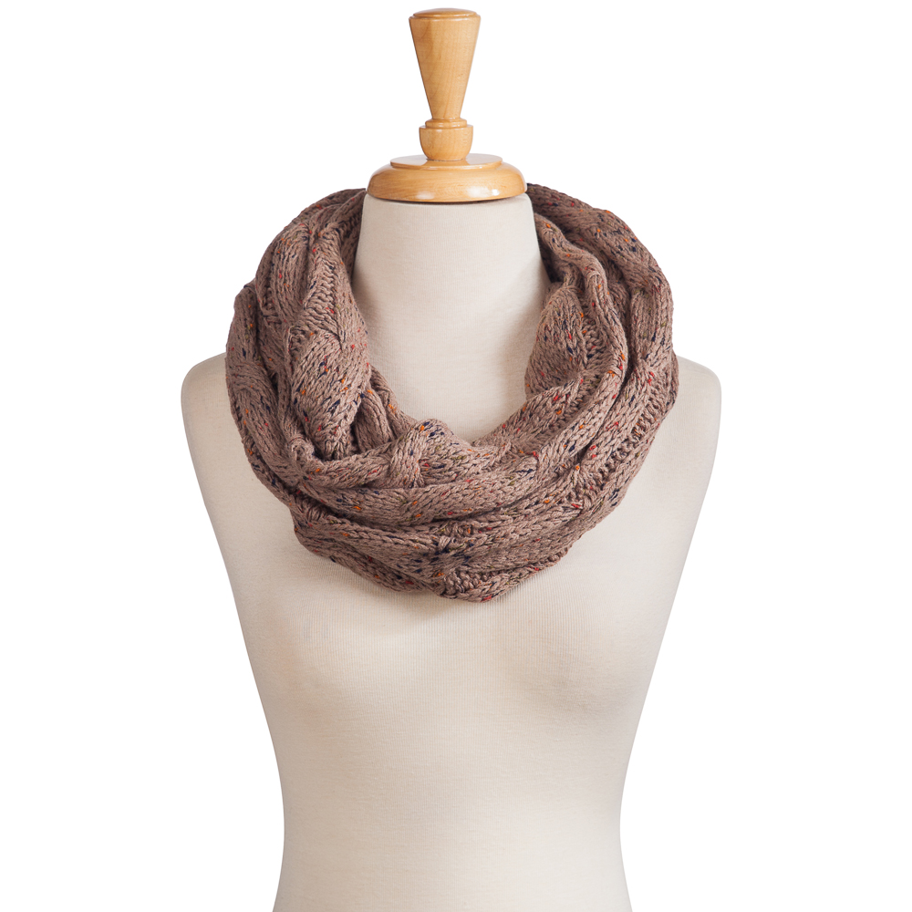 C.C Knit Infinity Scarf in Taupe Confetti