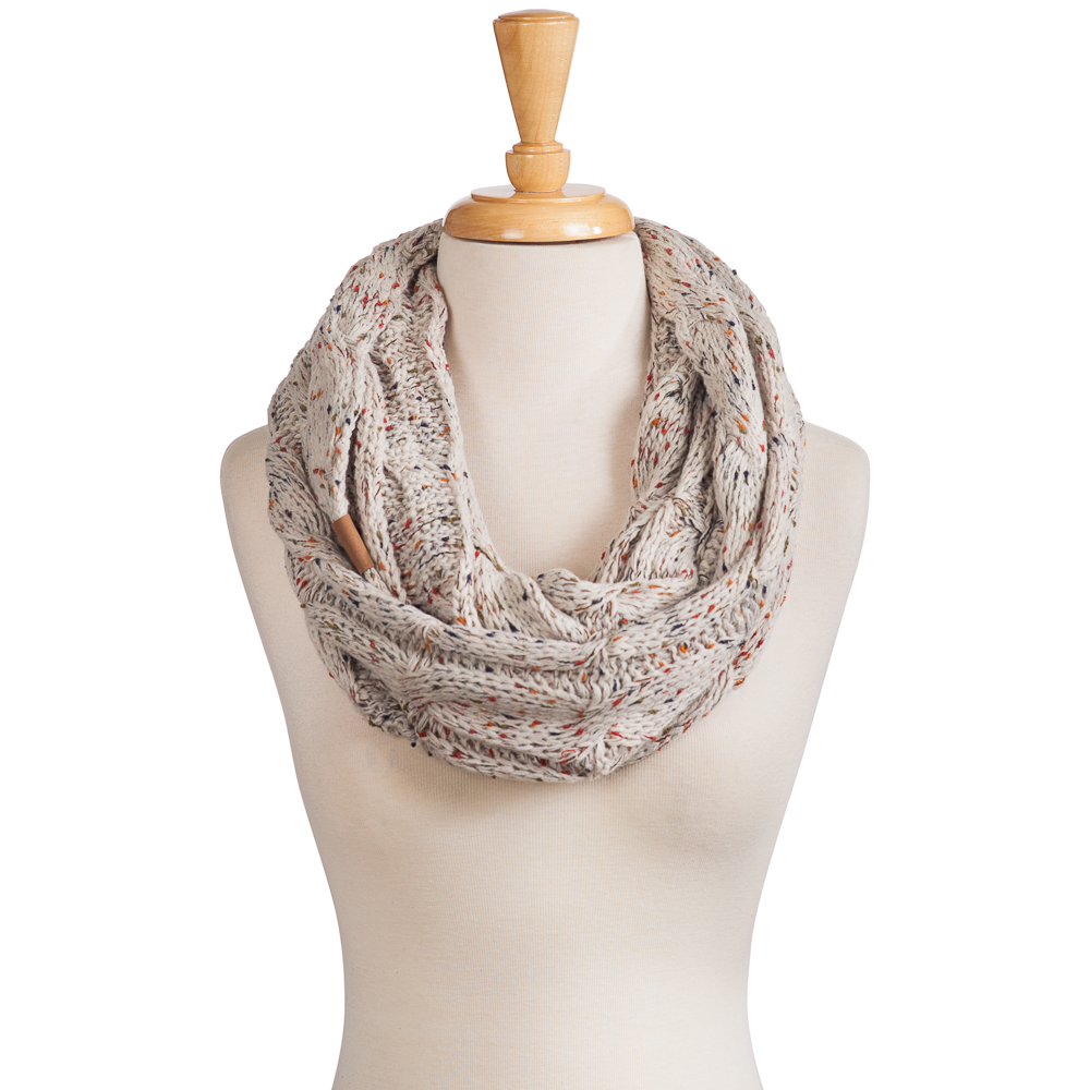 C.C Knit Infinity Scarf in Oatmeal Confetti