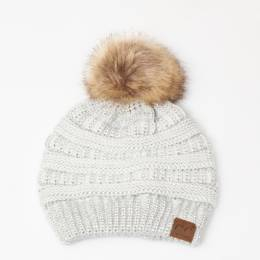 C.C Faux Fur Pom-Pom Beanie in Metallic Ivory
