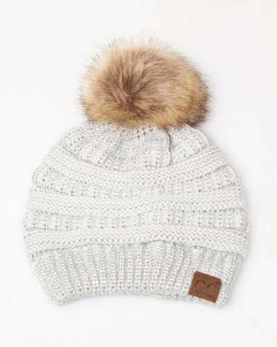 Faux Fur Pom-Pom Beanie in Metallic Ivory
