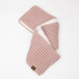 C.C. Faux Sherpa Chunky Knit Infinity Scarf in Rose