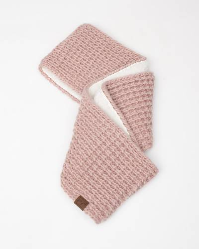 Faux Sherpa Chunky Knit Infinity Scarf in Rose