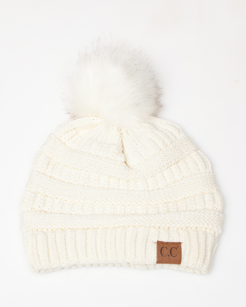 0b12d869eae383 C.C. Faux Fur Pom-Pom Beanie in Ivory | The Paper Store
